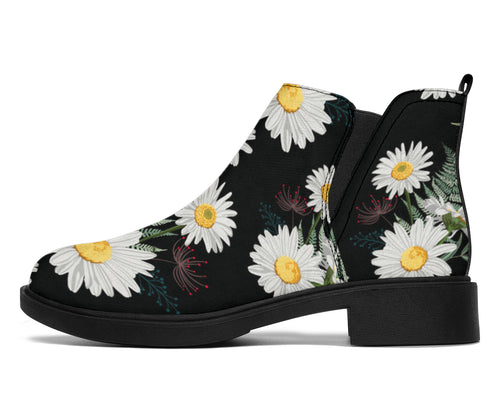 Daisy Pattern Print Design DS07 Ankle Boots