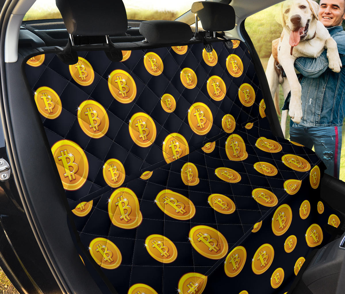 Bitcoin Pattern Print Design DO04 Rear Dog  Seat Cover