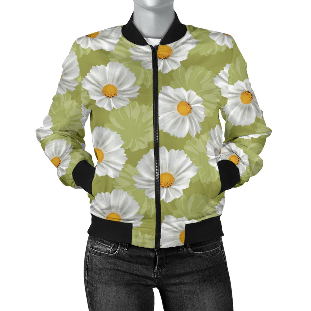 Daisy Pattern Print Design DS06 Women Bomber Jacket