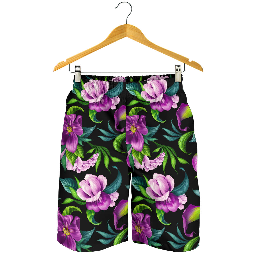 Bright Purple Floral Pattern Mens Shorts