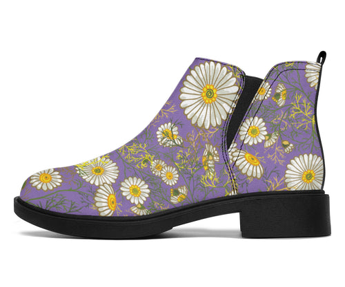 Daisy Pattern Print Design DS011 Ankle Boots