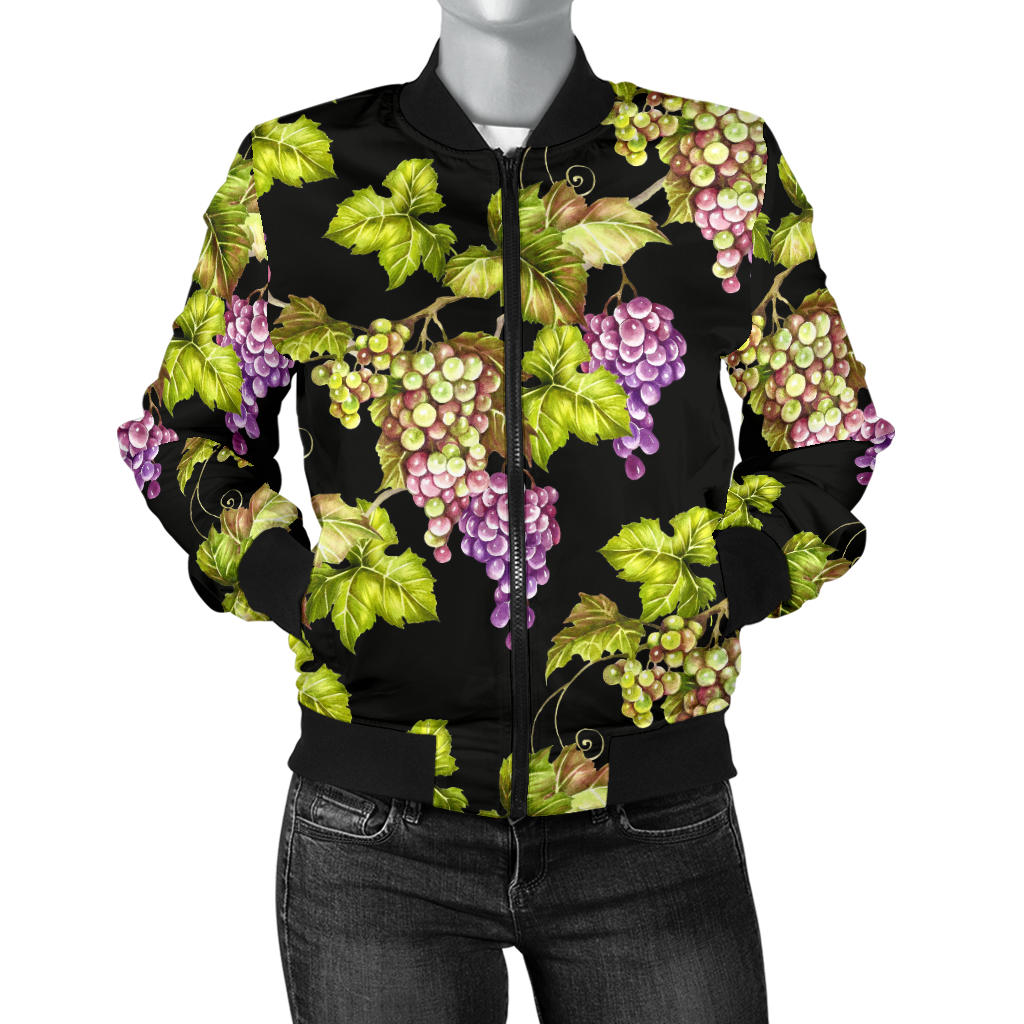 Grape Pattern Print Design GP04 Women Bomber Jacket