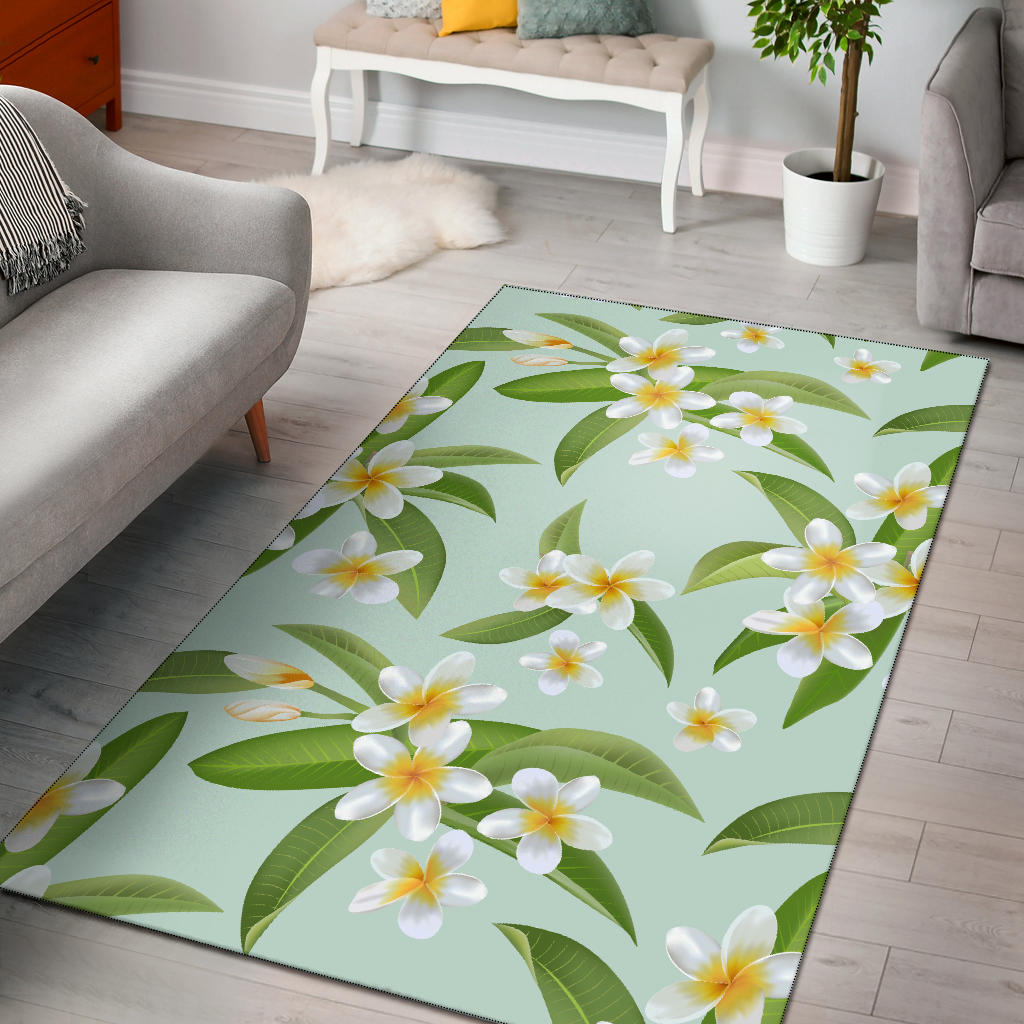 Yellow Plumeria Pattern Print Design PM024 Area Rugs