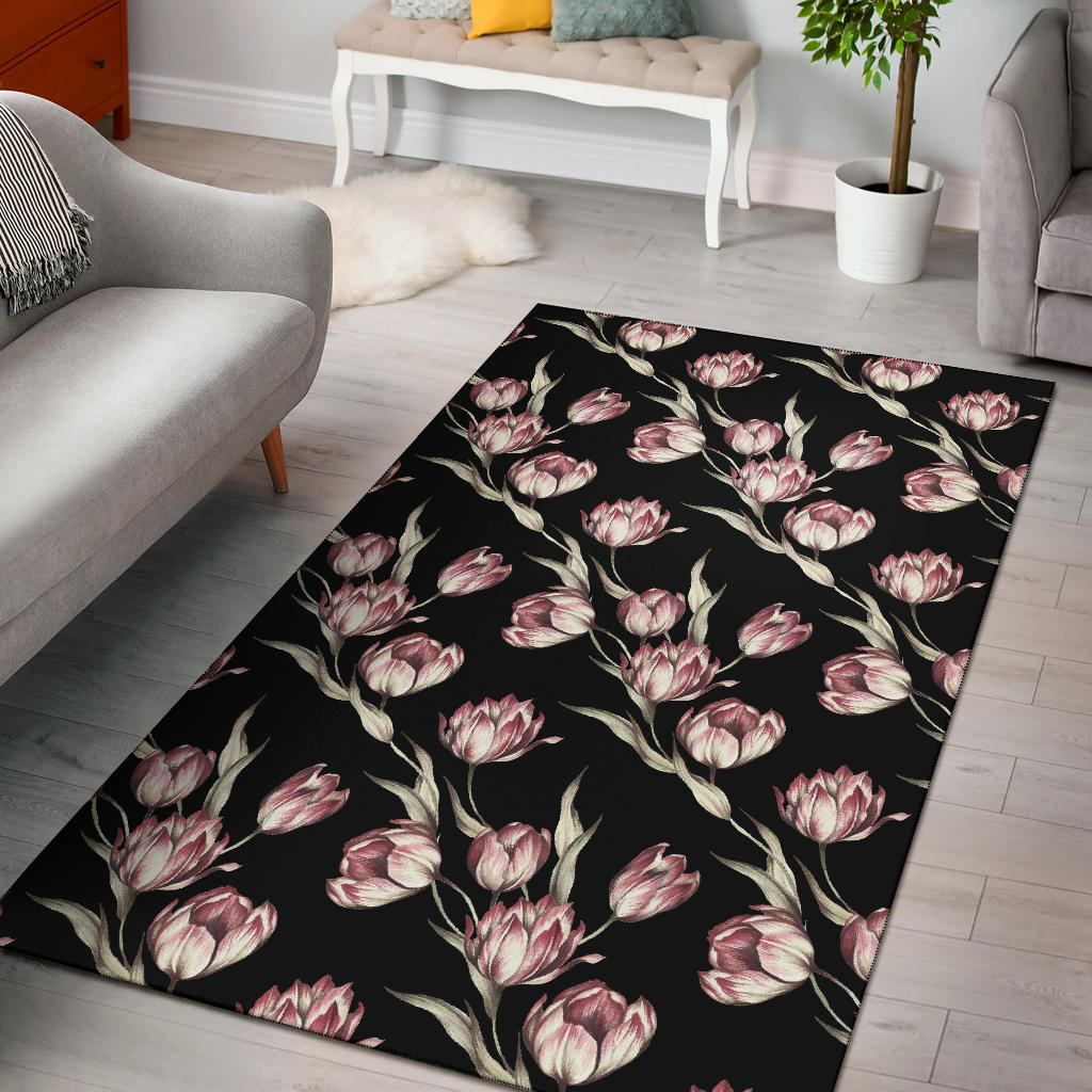 Tulip Pink Pattern Print Design TP02 Area Rugs