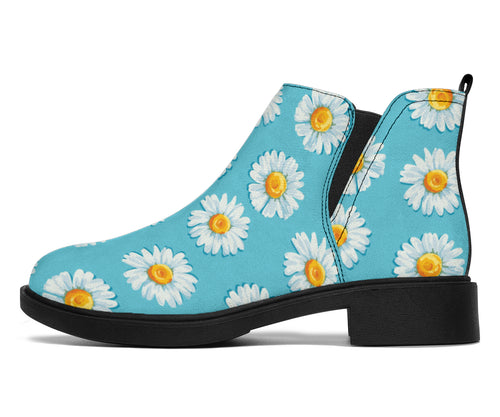 Daisy Pattern Print Design DS03 Ankle Boots