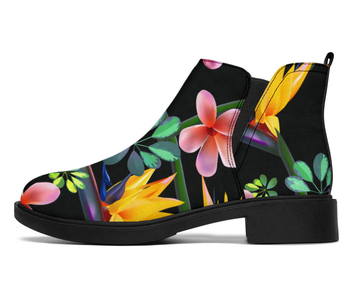 Tropical Flower Pattern Print Design TF015 Ankle Boots