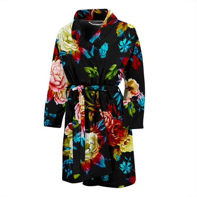 Peony Pattern Print Design PE07 Men Bathrobe
