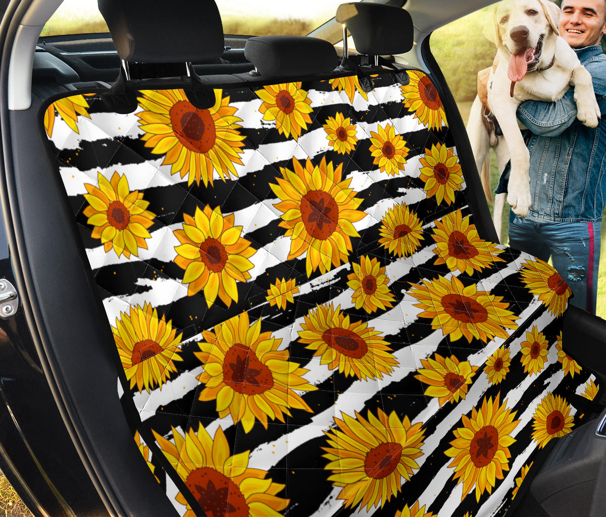 Sunflower Pattern Print Design SF010 Rear Dog  Seat Cover