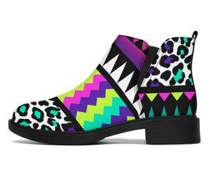 Animal Skin Aztec Rainbow Ankle Boots