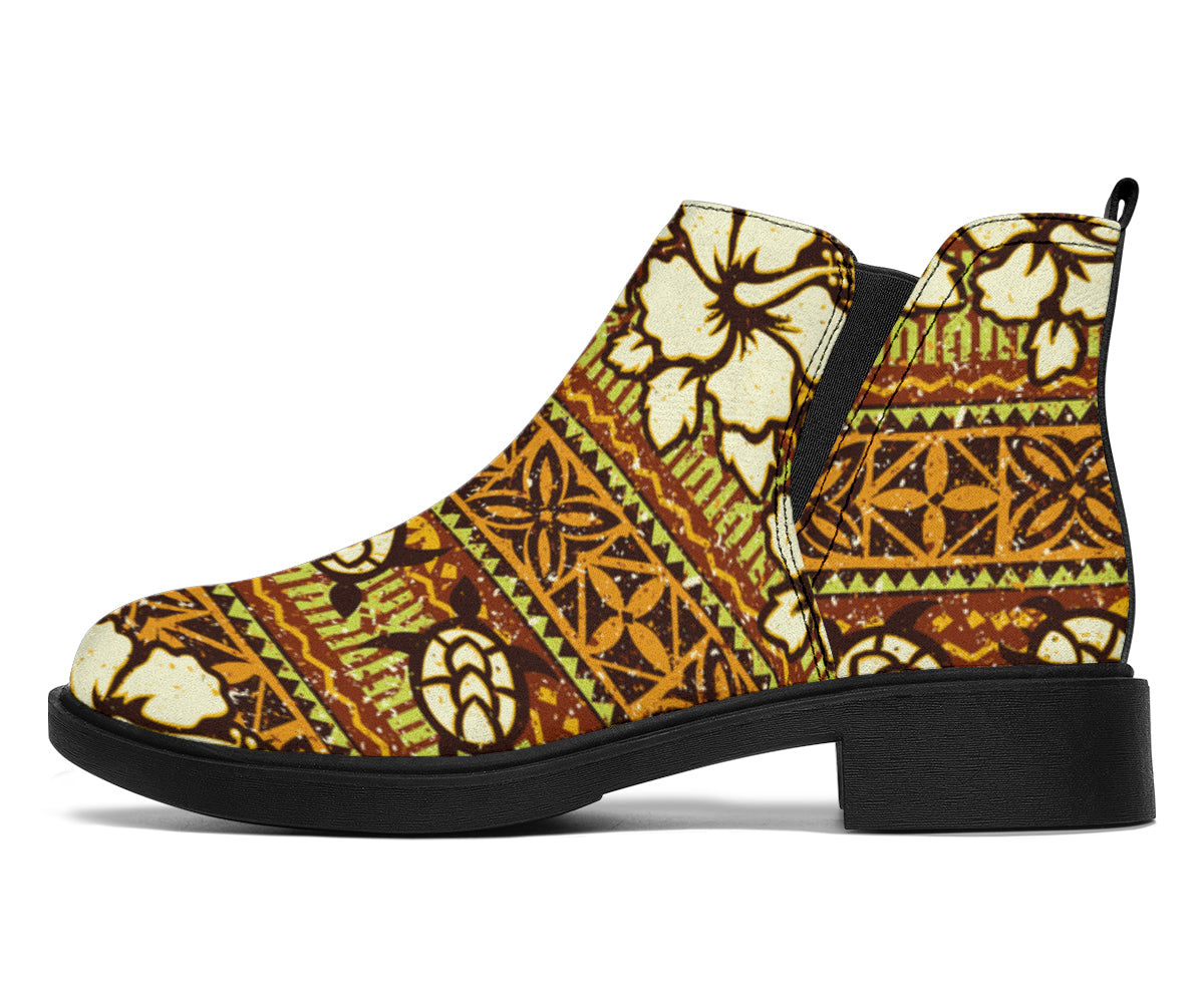 Hawaiian Themed Pattern Print Design H015 Ankle Boots