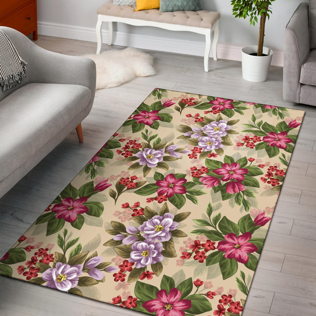 Summer Floral Pattern Print Design SF08 Area Rugs
