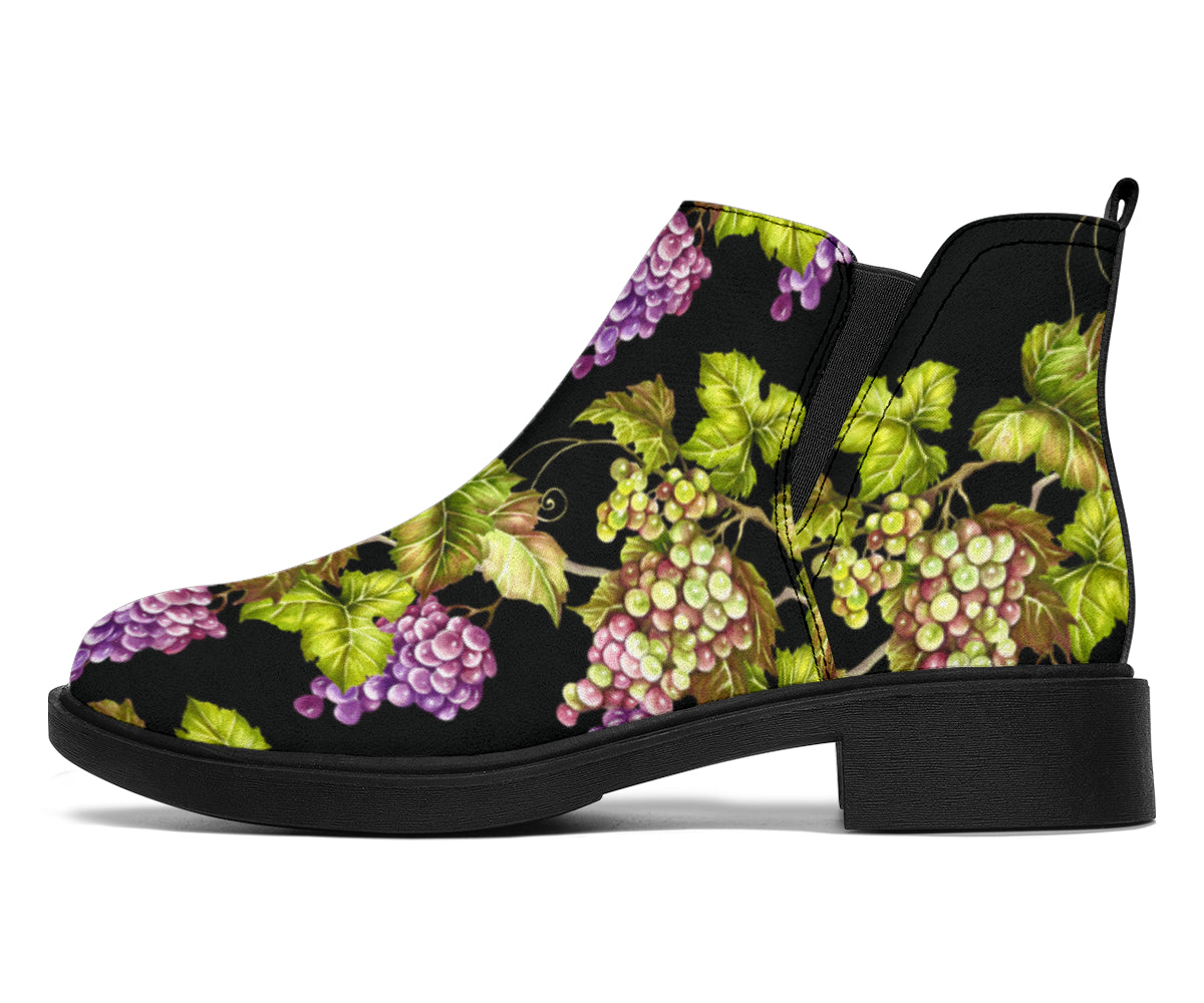 Grape Pattern Print Design GP04 Ankle Boots