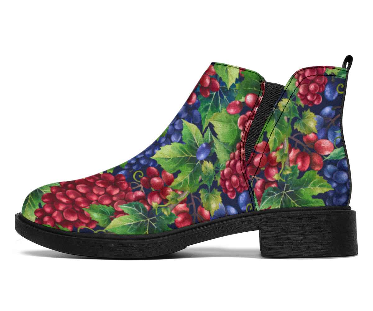 Grape Pattern Print Design GP02 Ankle Boots