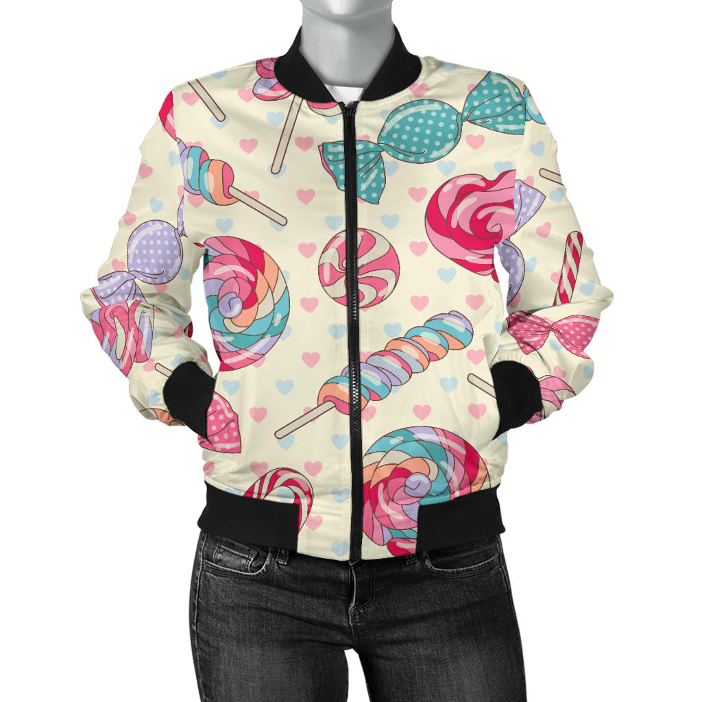 Candy Pattern Print Design CA04 Women Bomber Jacket