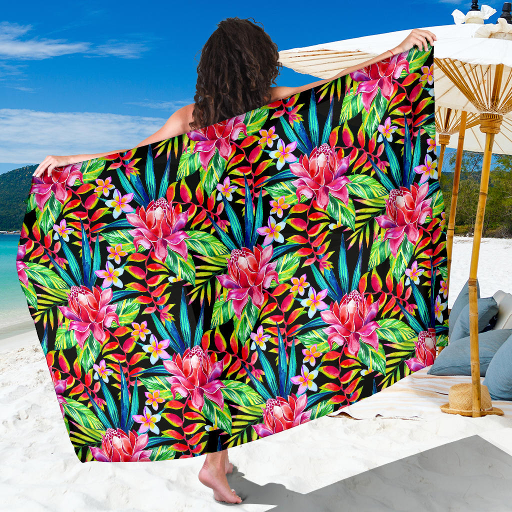 Heliconia Pattern Print Design HL02 Sarong Pareo Wrap