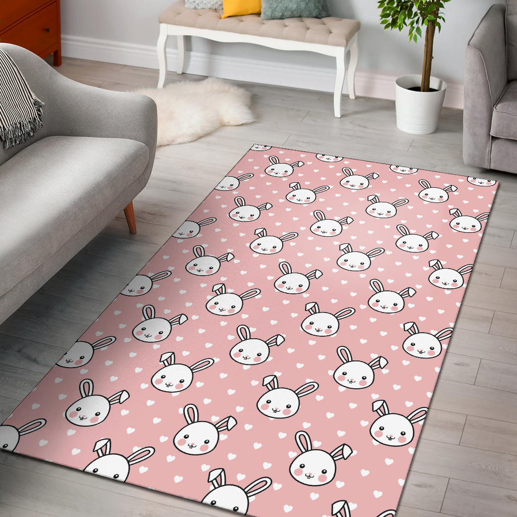 Rabbit Pattern Print Design RB02 Area Rugs