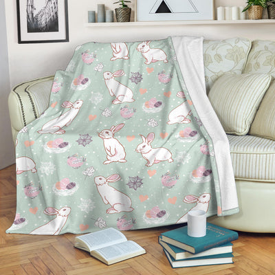 Rabbit Pattern Print Design RB011 Fleece Blanket