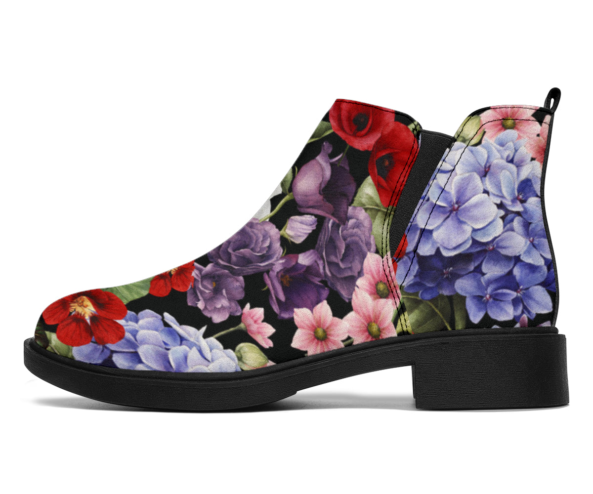 Summer Floral Pattern Print Design SF04 Ankle Boots