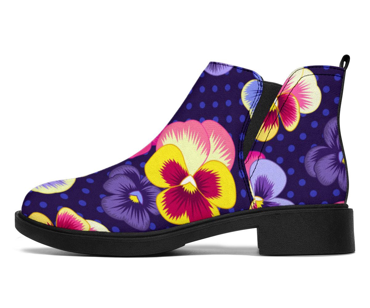 Pansy Pattern Print Design PS04 Ankle Boots