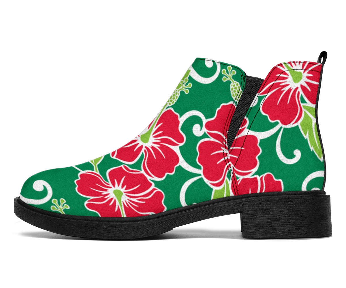Red Hibiscus Pattern Print Design HB019 Ankle Boots