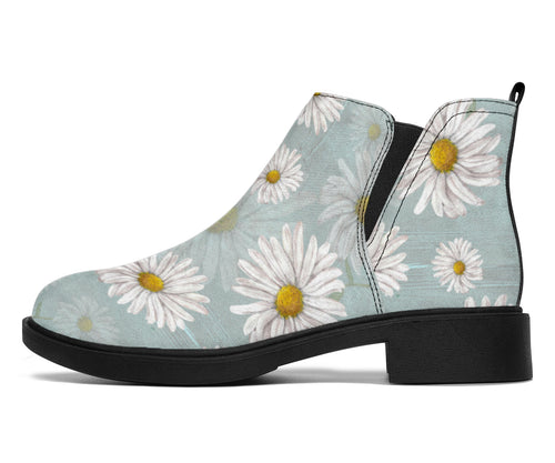 Daisy Pattern Print Design DS012 Ankle Boots