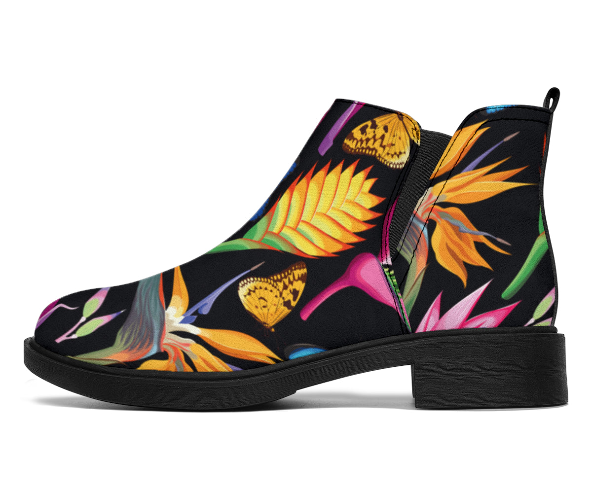 Tropical Flower Pattern Print Design TF016 Ankle Boots