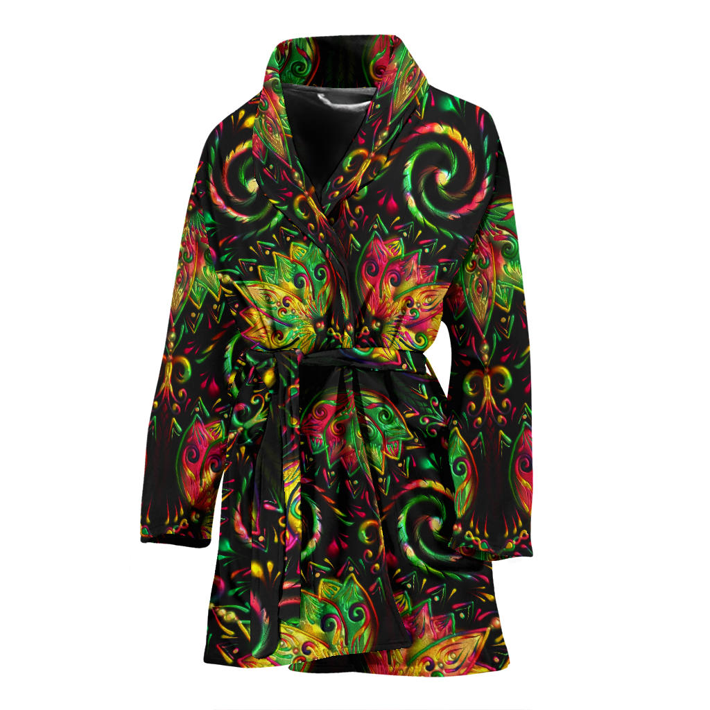 lotus Boho Pattern Print Design LO09 Women Bathrobe