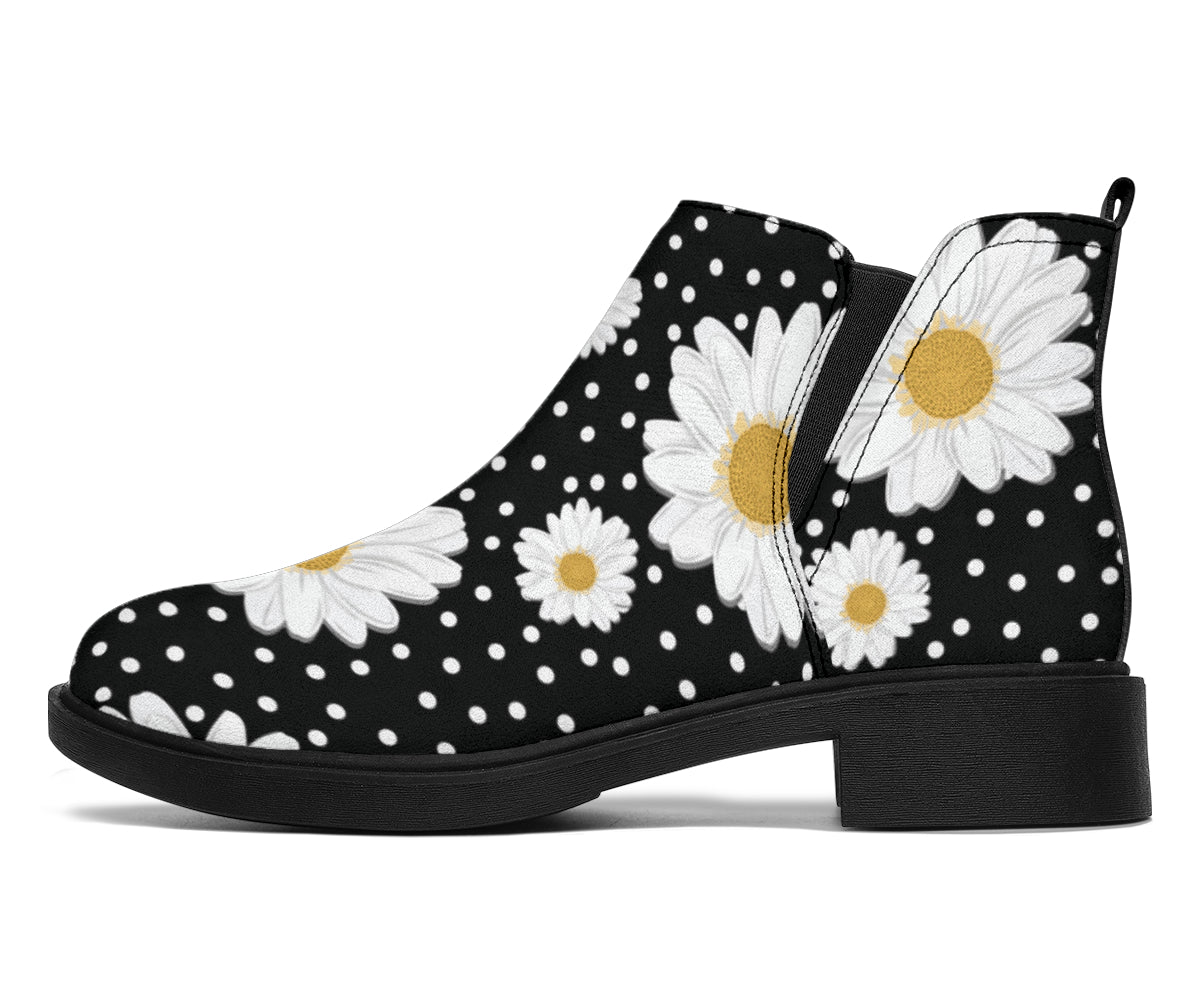 Daisy Pattern Print Design DS02 Ankle Boots
