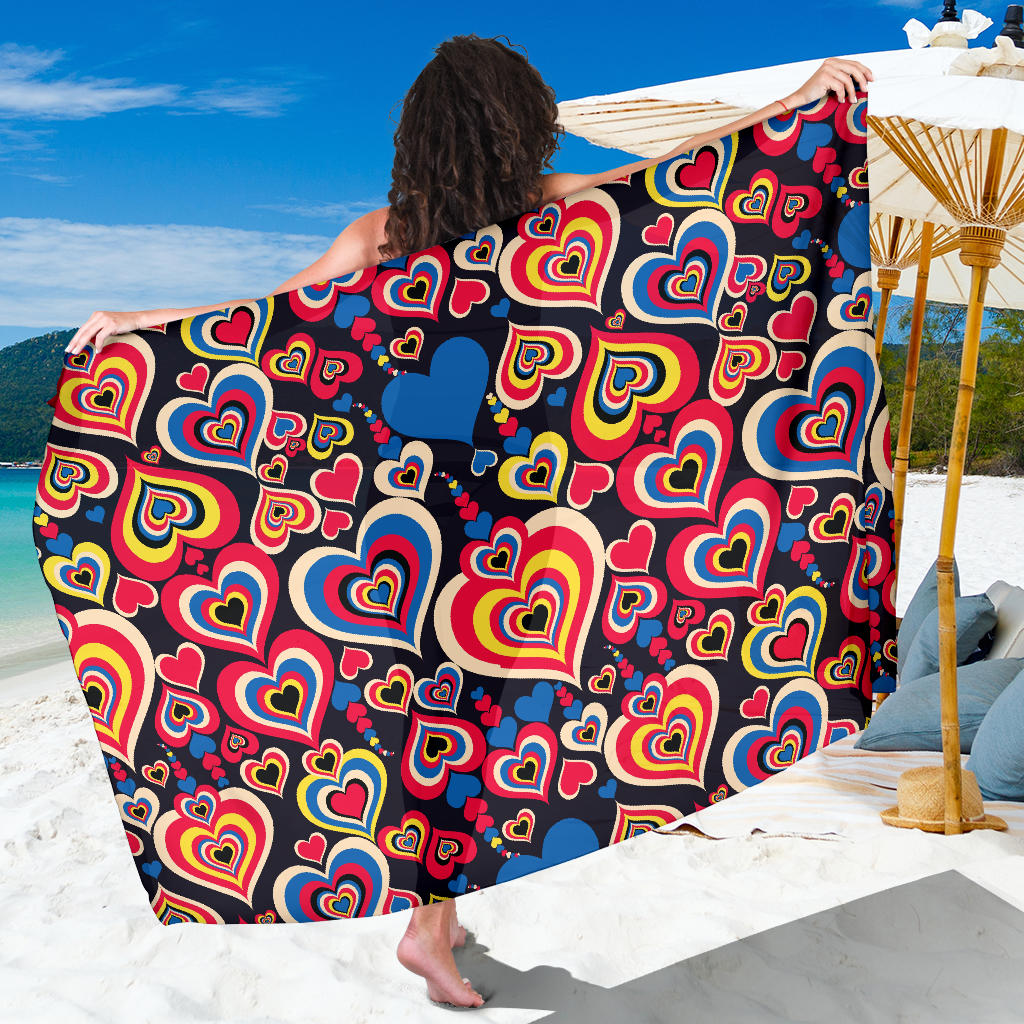 Heart Pattern Print Design HE08 Sarong Pareo Wrap