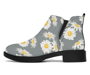 Daisy Pattern Print Design DS09 Ankle Boots