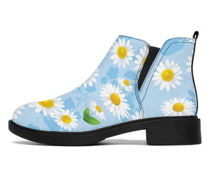 Daisy Pattern Print Design DS010 Ankle Boots