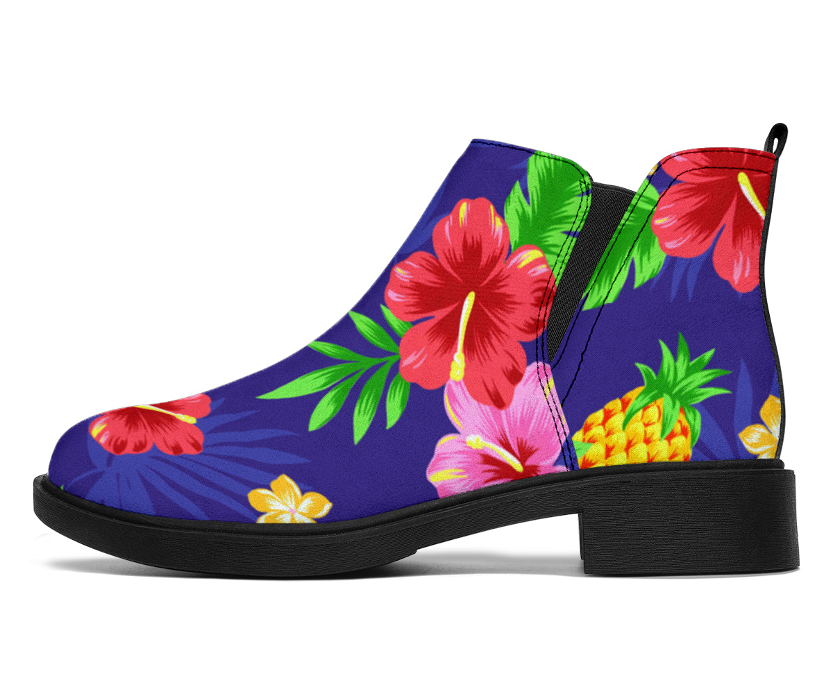 Hawaiian Themed Pattern Print Design H05 Ankle Boots