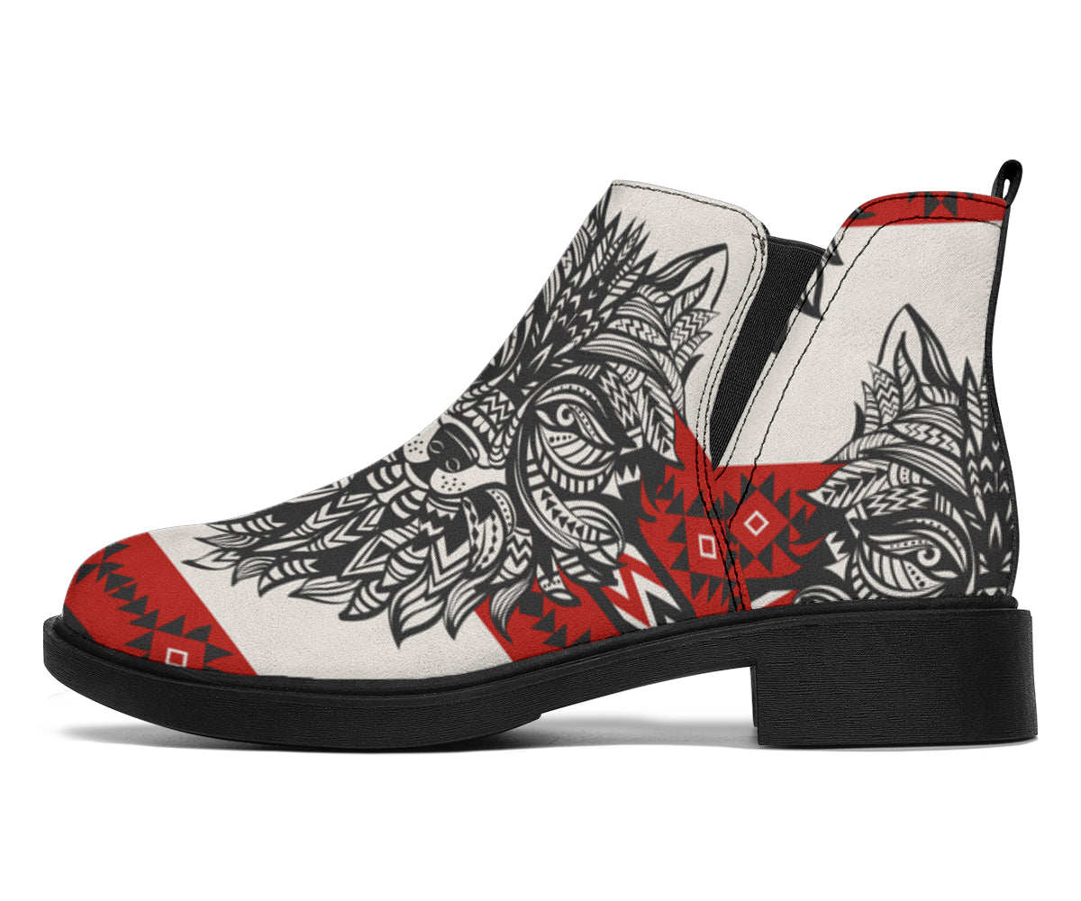 Native Indian Wolf Ankle Boots