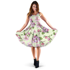 Apple blossom Pattern Print Design AB05 Midi Dress