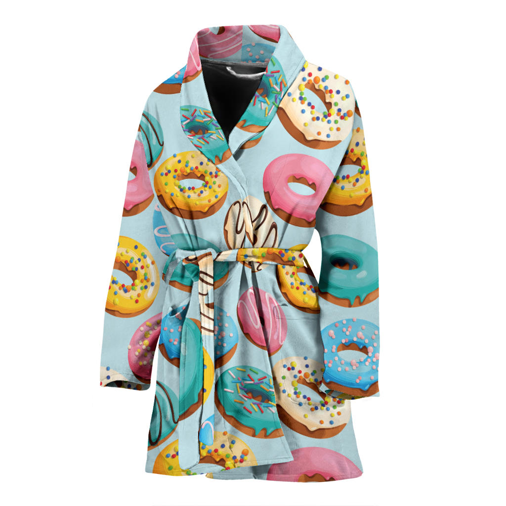 Donut Pattern Print Design DN05 Women Bathrobe
