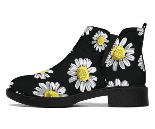 Daisy Pattern Print Design DS01 Ankle Boots