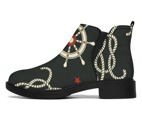 Nautical Anchor Pattern Ankle Boots
