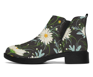 Daisy Pattern Print Design DS08 Ankle Boots