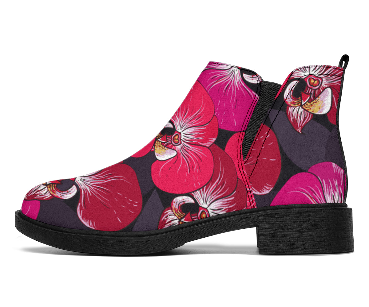 Orchid Red Pattern Print Design OR05 Ankle Boots