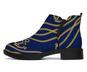 Nautical Anchor Rope Pattern Ankle Boots