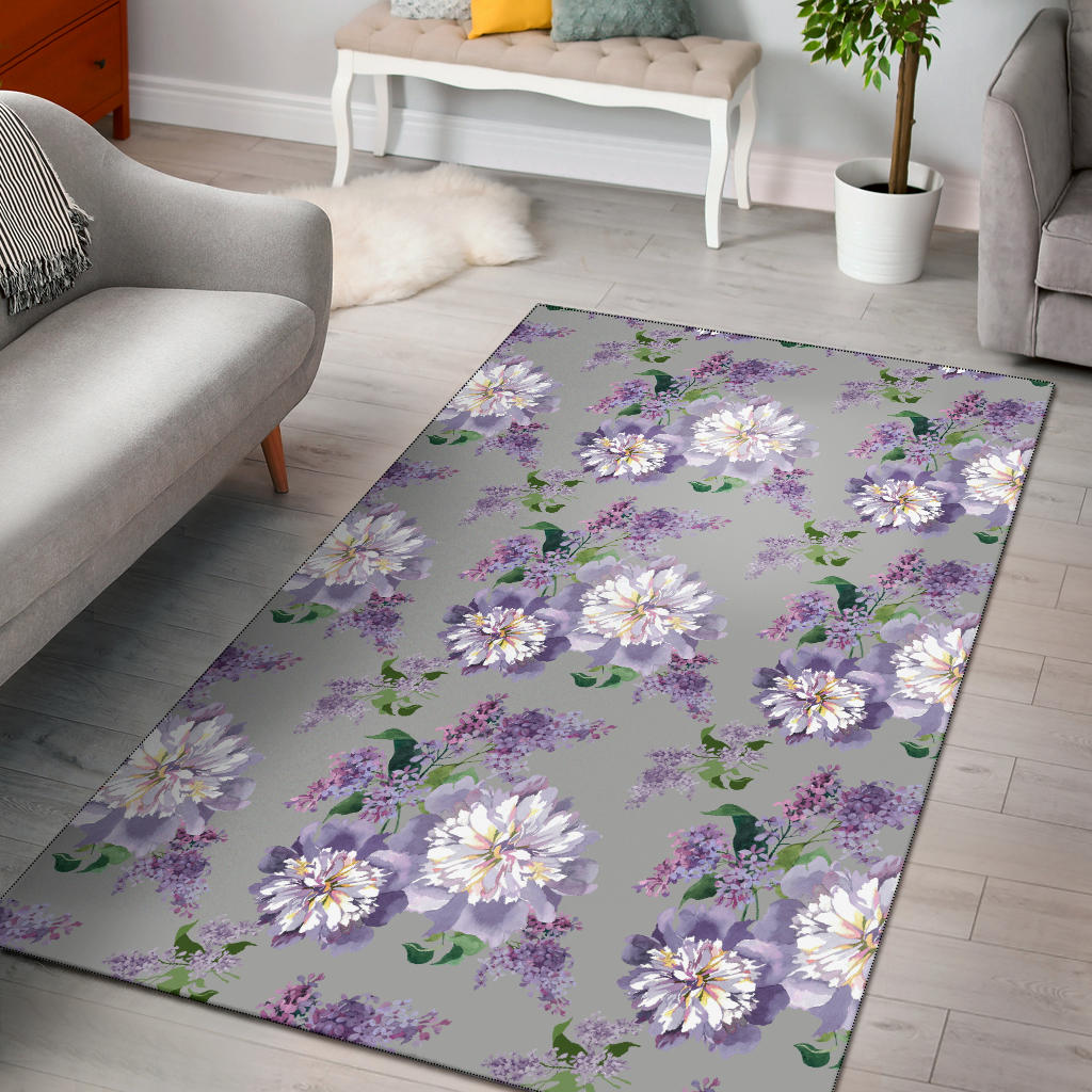 Lilac Pattern Print Design LI07 Area Rugs