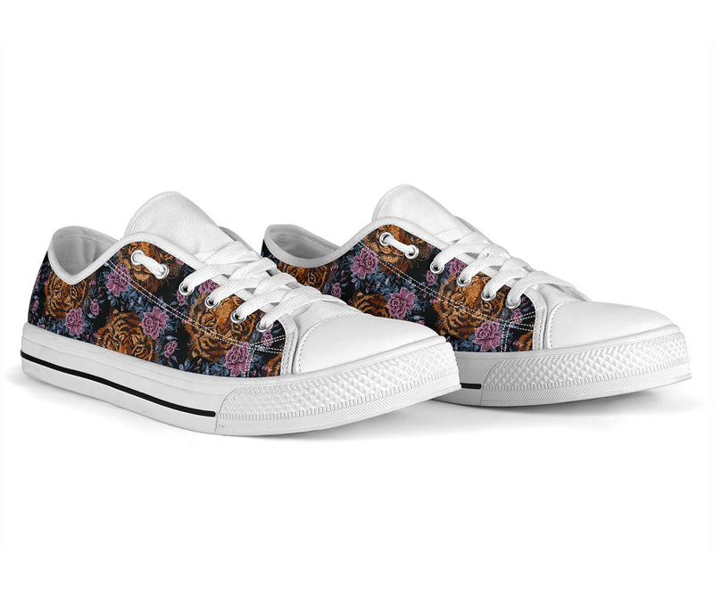 Tiger Head Floral White Bottom Low Top Shoes