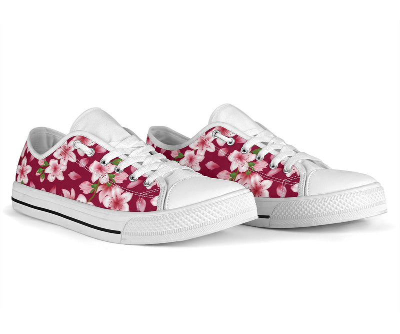 Cherry Blossom Pattern Print Design CB06 White Bottom Low Top Shoes