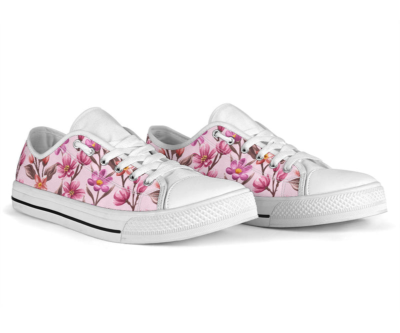 Summer Floral Pattern Print Design SF09 White Bottom Low Top Shoes