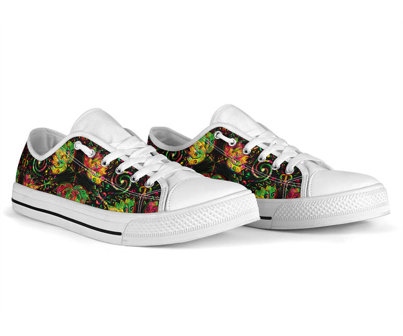 lotus Boho Pattern Print Design LO09 White Bottom Low Top Shoes