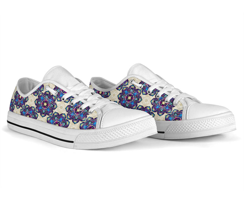 lotus Boho Pattern Print Design LO08 White Bottom Low Top Shoes
