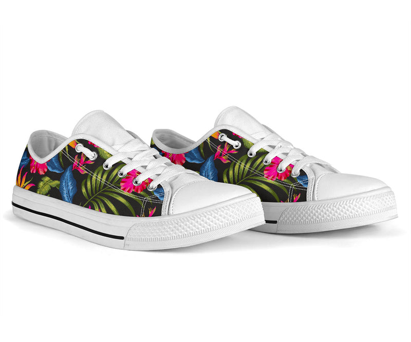 Bird Of Paradise Pattern Print Design BOP014 White Bottom Low Top Shoes