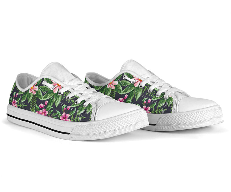 Summer Floral Pattern Print Design SF010 White Bottom Low Top Shoes