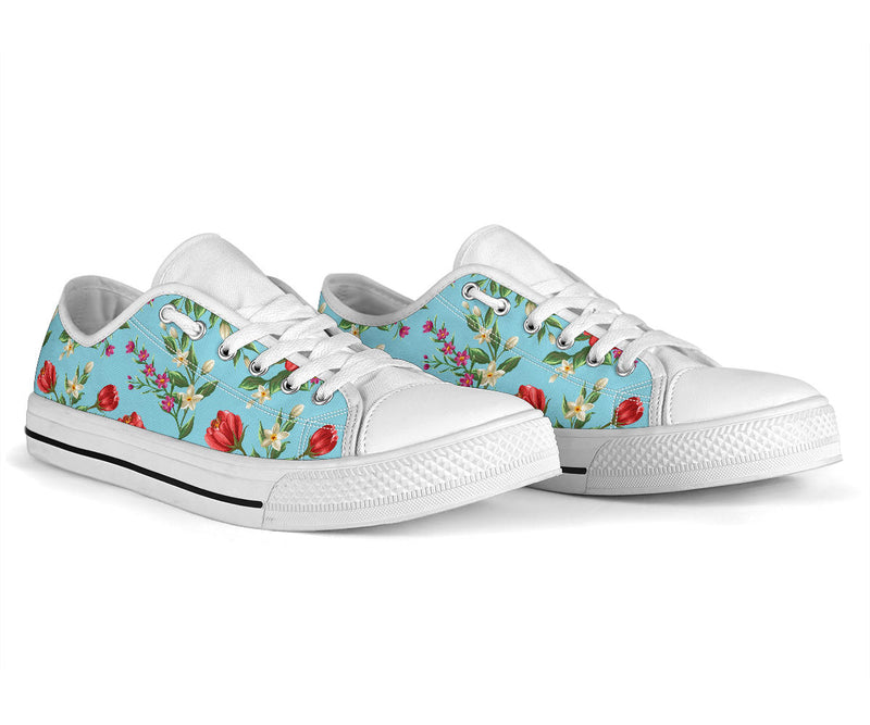Summer Floral Pattern Print Design SF011 White Bottom Low Top Shoes