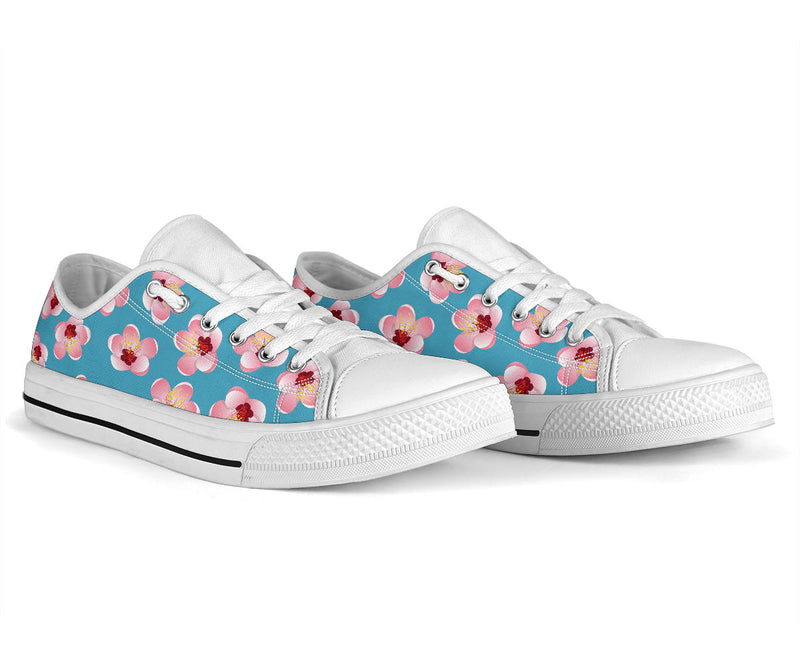 Cherry Blossom Pattern Print Design CB09 White Bottom Low Top Shoes